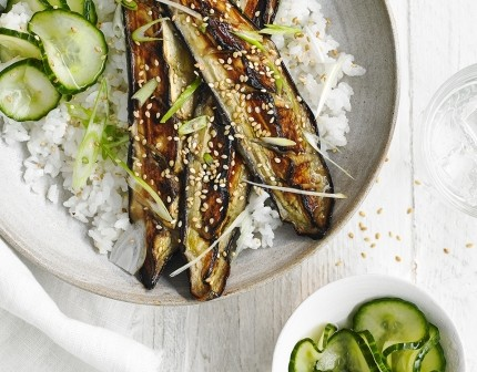 Meatless Monday Recipe – Miso-grilled aubergine & cucumber pickle rice bowl