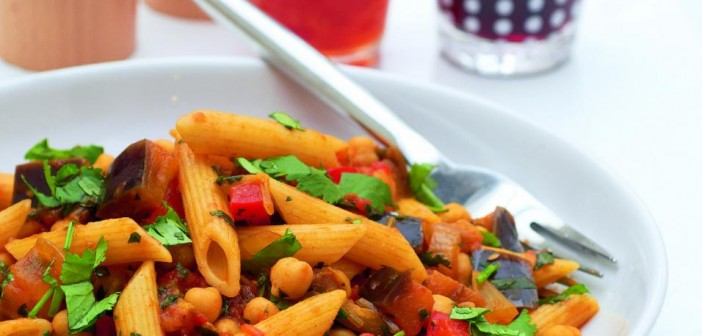 Aubergine and Chickpea Penne