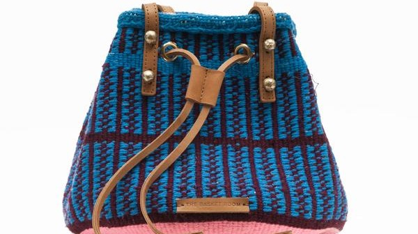 UMMA: Handwoven Blue and Brown Bucket Bag