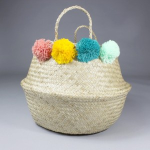 Mai_Folding_Plain_Seagrass_Belly_Planter_Laundry_Basket_Toy_Oraniser_Pannier_Boule_Planter_With_Colourful_Pompoms_4_1024x1024@2x